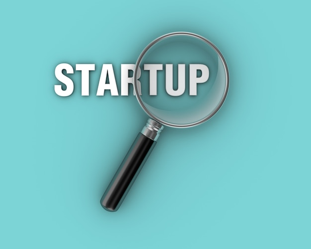 Startup word avec loupe grossissante