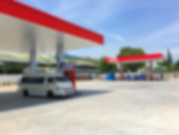 Station de carburant defocused