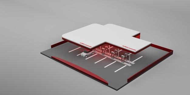 Station de charge batterie de voiture électrique nouveau concept de technologie énergétique illustration 3d