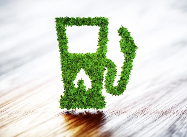 Station d'essence de biocarburant sur fond de bois. illustration 3d.
