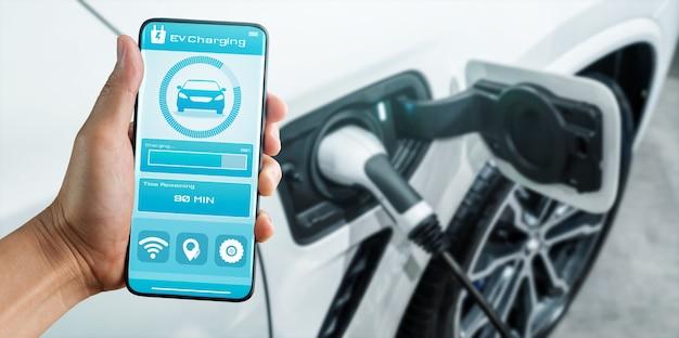 Station de recharge ev pour voiture électrique avec affichage de l'état du chargeur par application mobile