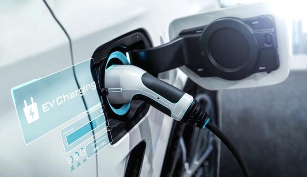 Station de recharge ev pour voiture électrique dans le concept d'énergie verte alternative
