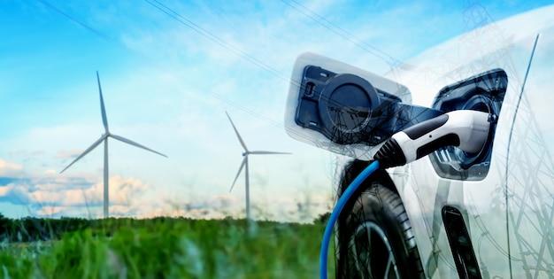Station de recharge ev pour voiture électrique dans le concept d'énergie verte durable