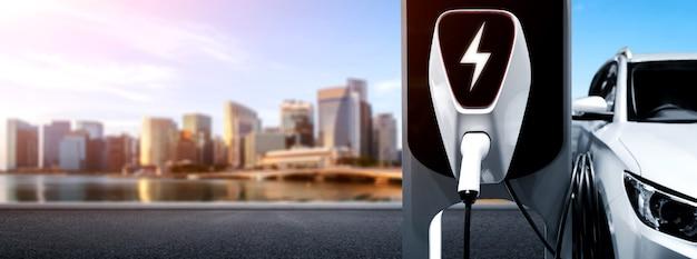 Station de recharge ev pour voiture électrique dans le concept d'énergie verte et d'énergie écologique