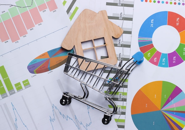 Statistiques des ventes de maisons. panier avec figurine, graphiques et tableaux. affaires et finance, analytique