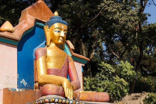 Statue de bouddha, temple de swayambhu stupa, katmandou, népal