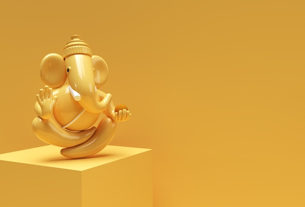 Statue de dieu hindou ganesha - éléphant de concept de festival de religion hindoue illustration de rendu 3d.