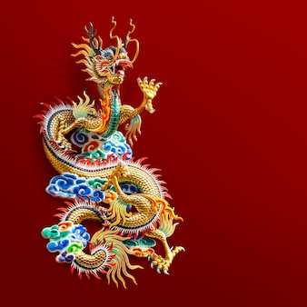 Statue de dragon d'or chinois