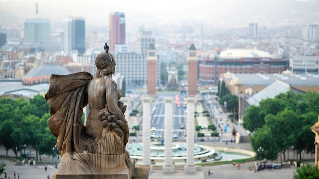 La statue du palau nacional avec pigeon à barcelone, espagne. ciel nuageux