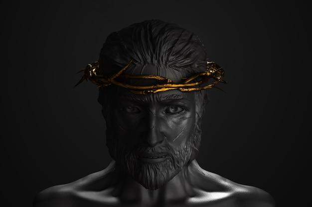 Statue de jésus-christ avec la couronne d'or d'épines rendu 3d de face avant