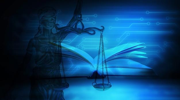 Statue de la justice et livre sur le fond des microcircuits