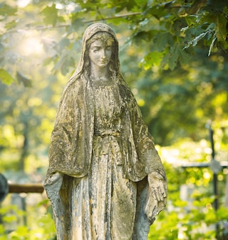 Statue de marie mère de dieu, à l'automne arrière-plan des arbres