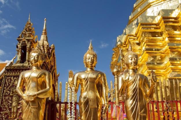 Statues de bouddha au wat phra that doi suthep à chiang mai