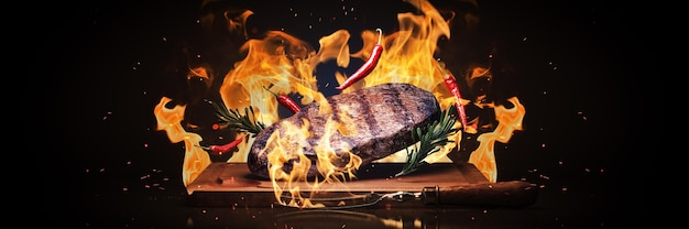 Steak de boeuf sur grill rendu 3d