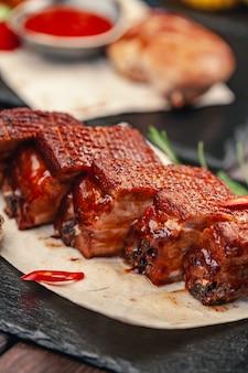 Steak de boeuf grillé aux légumes