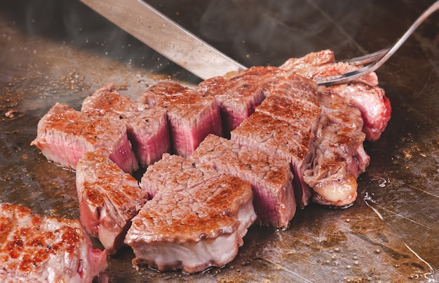 Steak de teppanyaki de bœuf japonais matsusaka wagyu