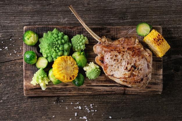 Steak de veau grillé aux légumes