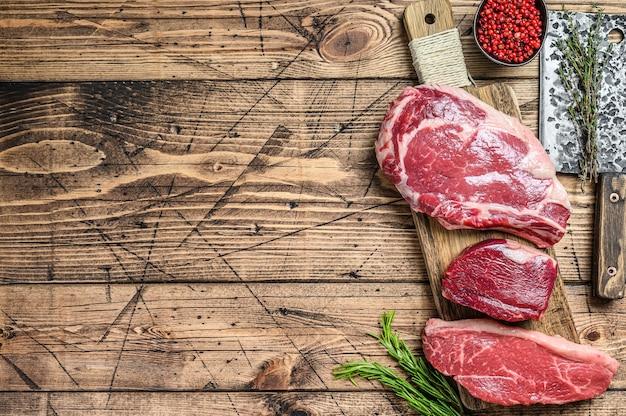 Steaks de bœuf black angus frais crus