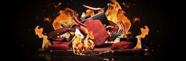 Steaks de boeuf sur le grill rendu 3d