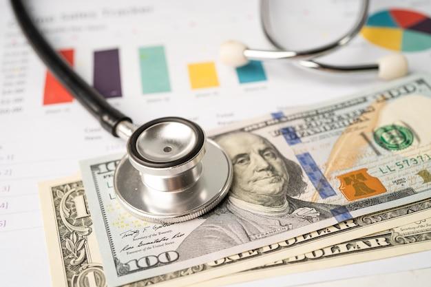 Stéthoscope et billets en dollars américains sur papier graphique ou graphique, concept de santé financière, compte, statistiques et données commerciales.