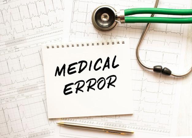Stéthoscope avec cardiogramme et bloc-notes avec texte erreur médicale
