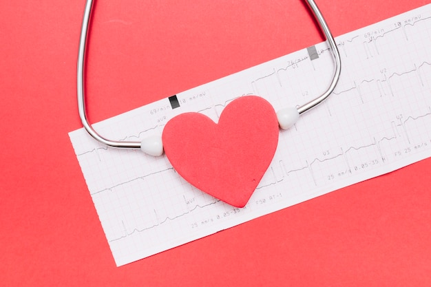Stéthoscope close-up près de coeur et cardiogramme