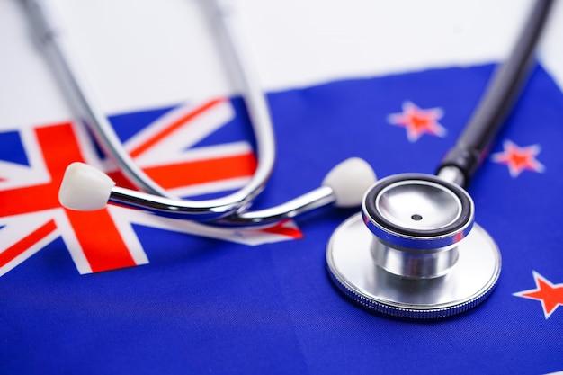 Stéthoscope avec drapeau de la nouvelle-zélande.
