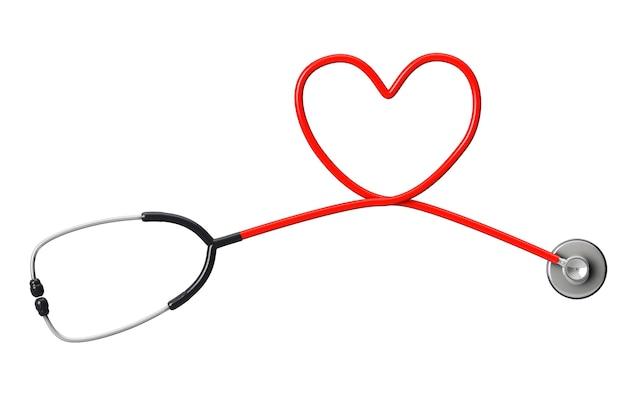 Stéthoscope en forme de coeur sur fond blanc