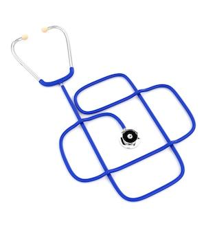 Stéthoscope médical bleu isolé sur fond blanc. la conception des services de santé. illustration 3d