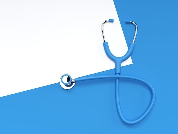 Stéthoscope médical réaliste de rendu 3d sur fond de couleur.