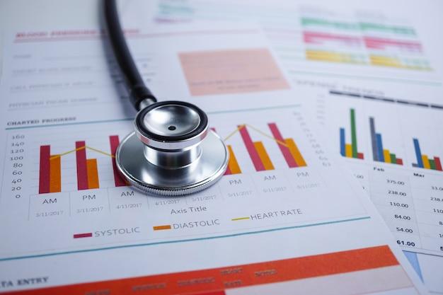 Stéthoscope, papier graphique, finance, compte, statistique, économie analytique