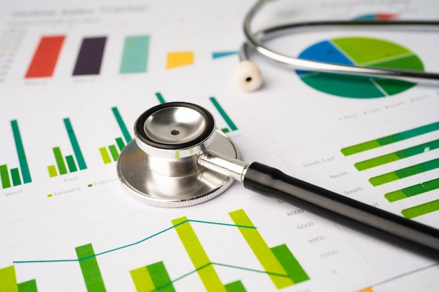 Stéthoscope sur papier graphique graphique, finances, compte, statistique, économie analytique concept d'entreprise.