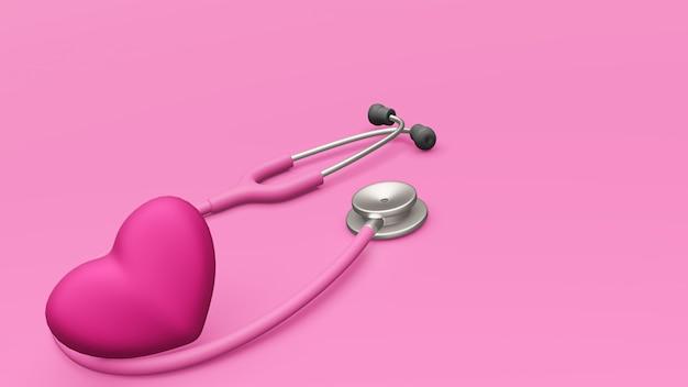 Un stéthoscope rose et un coeur