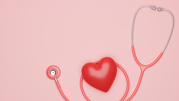 Stéthoscope de soins médicaux avec coeur rouge et espace de copie pour vos marques sur fond rose