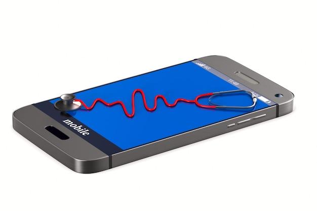 Stéthoscope et téléphone sur fond blanc. illustration 3d isolée