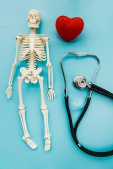 Stéthoscope vue de dessus avec squelette et coeur