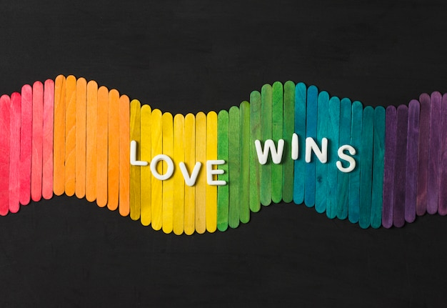 Sticks aux couleurs vives lgbt et l'amour gagne les mots