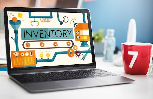 Stock d'inventaire des biens de fabrication d'actifs concept