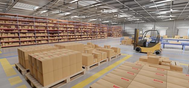 Stock de marchandises en entrepôt rendu 3d
