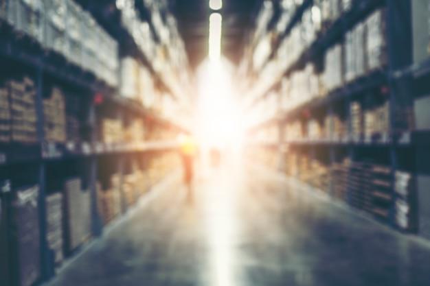 Stock de produits d'inventaire blur warehouse pour la logistique