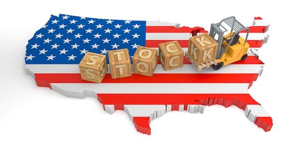 Stock de texte de bloc en bois des états-unis. rendu 3d