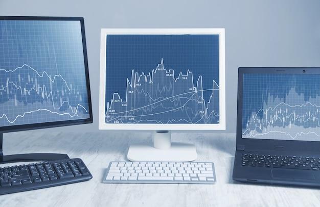Stock trading. ordinateurs de bureau. bourse financière
