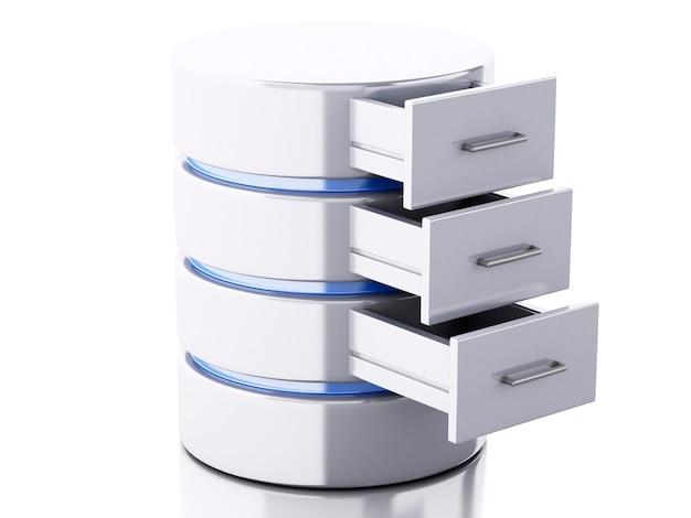 Stockage de données 3d sur fond blanc