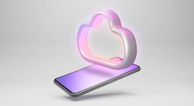 Stockage en nuage sur smartphone. rendu 3d
