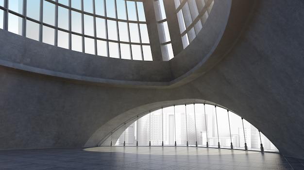 Structure d'architecture en béton abstraite avec fond de ville. rendu 3d