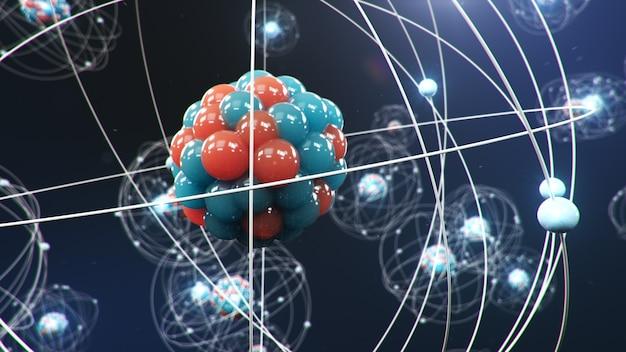 Structure atomique. boules d'énergie incandescentes, réaction nucléaire.