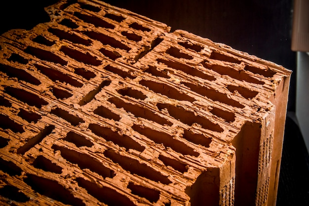 Structure en brique. brique poreuse, bloc isolé. texture de brique industrie du bâtiment.