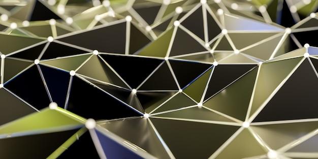 Structure de connexion abstraite avec points et lignes de connexion - rendu 3d