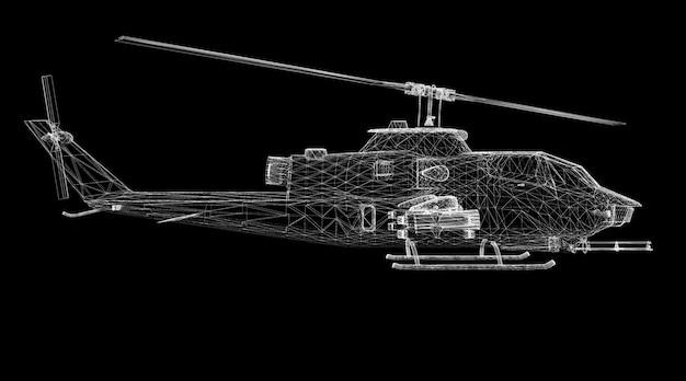 Structure de corps de modèle 3d d'hélicoptère militaire, modèle de fil