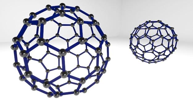 La structure de forme de la nanotechnologie, la nanotechnologie du futur, le fullerène, le rendu 3d